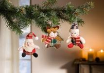 3er Textil Hänger 'Winterfreunde? Deko Weihnachten Christbaum Schmuck Verzierung