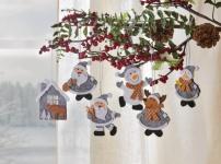 6er Filz-Hänger 'Winterfreunde? Deko Weihnachten Christbaum Schmuck Verzierung
