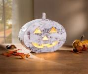 LED Kürbis 'Birkenrinde? Halloween Gruselkürbis Tisch Licht Leucht Deko