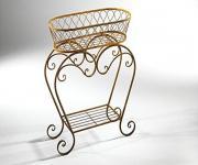 Metall Blumen Bank, Barock Stil, Naturrost, Pflanzen Ständer Tisch Regal Vintage