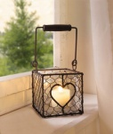 DRAHT-WINDLICHT Herz aus METALL mit GLASEINSATZ Rostoptik LATERNE TEELICHTHALTER