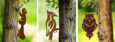 3 WENKO BAUMSTECKER Eichhörnchen, Specht & Eule METALL ROST OPTIK GARTEN STICKER