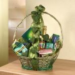 Präsent Korb grün / gold, aus Weide, Geschenk Flecht Aufbewahrungs Henkel Deko