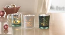 3er Windlicht 'Wintergrün? Glas Kerzen Halter Ständer Teelicht Laterne Garten