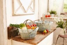 Einkaufskorb Sweet Home Weide Einkaufstasche Korb Bügel Ernte Füllkorb Picknick