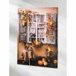 """LED Bild """" Landhaus Fenster"""" Leinwand Wandbild mit Beleuchtung Leuchtbild"""