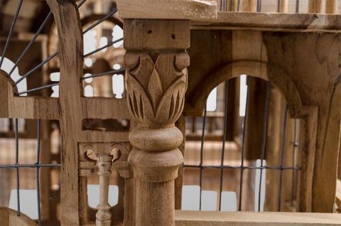 Casa Padrino Barock Vogelpalast handgeschnitzt aus Mahagoniholz H190cm - Vogelhaus Vogelkäfig Antik Stil - Vorschau 2