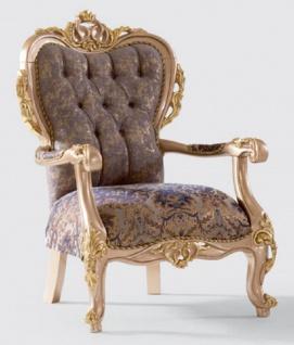 Casa Padrino Luxus Barock Sessel Lila / Grau / Gold 80 x 90 x H. 123 cm - Handgefertigter Wohnzimmer Sessel mit elegantem Muster - Barock Wohnzimmer Möbel - Edel & Prunkvoll