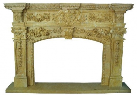 Casa Padrino Luxus Barock Kaminumrandung Gelb 200 x 40 x H. 150 cm - Handgefertigte Kaminumrandung aus hochwertigem Marmor - Kamin Deko Accessoires - Marmor Möbel im Barockstil