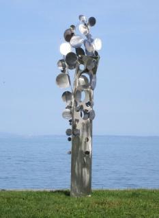 Casa Padrino Designer Edelstahl Garten Skulptur Münzbaum Silber 75 x 70 x H. 260 cm - Handgefertigte Wetterbeständige Garten Dekoration - Vorschau 3