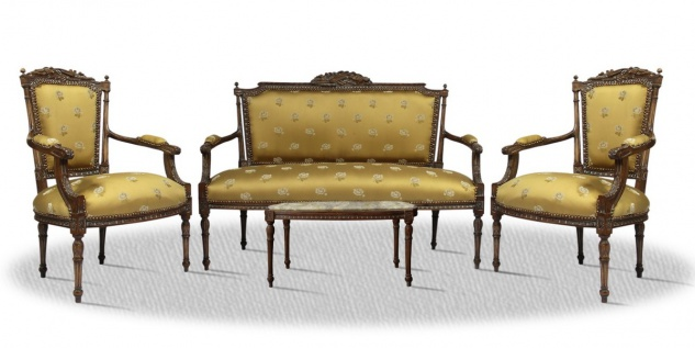 Casa Padrino Barock Salon Set Braun Gold - Antik Stil Kollektion