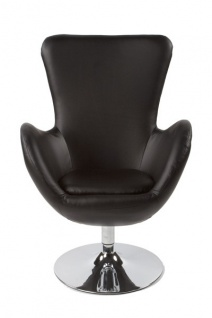 Casa Padrino Designer Sessel Schwarz - Lounge Sessel - Büro Sessel - Drehsessel