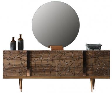 Casa Padrino Luxus Möbel Set Braun / Kupfer - 1 Sideboard mit 4 Türen & 1 Spiegel - Moderne Massivholz Möbel - Luxus Kollektion