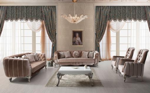 Casa Padrino Luxus Barock Wohnzimmer Set Rosa / Silber - 2 Sofas & 2 Sessel & 1 Couchtisch - Elegante Wohnzimmer Möbel im Barockstil