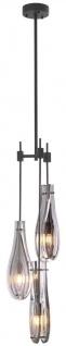 Casa Padrino Luxus Kronleuchter Bronzefarben / Grau Ø 30 x H. 95, 5 cm - Moderner Metall Kronleuchter mit Glas Lampenschirmen - Luxus Qualität