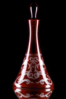 Casa Padrino Luxus Weinkaraffe Rot / Silber Ø 17 x H. 36 cm - Mundgeblasene und handgravierte Glas Karaffe - Hotel & Restaurant Accessoires - Luxus Qualität