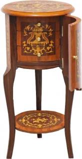 Casa Padrino Barock Beistelltisch mit Schubladen Braun Intarsien 80 x 40 cm - Antik Stil Beistelltisch - Telefontisch - Möbel - Vorschau 2