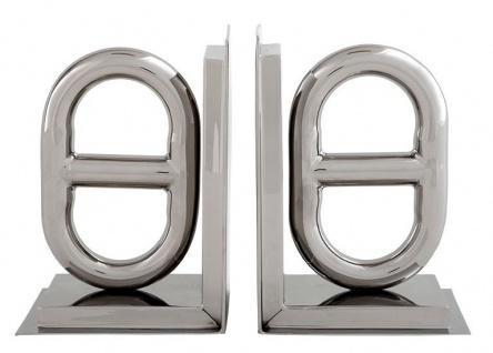Casa Padrino Luxus Bücherstützen Horsebit Schnalle Nickel Finish Aluminium - Bücherstütze - Book End - Luxus Kollektion