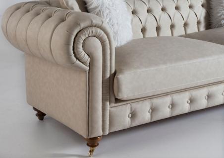Casa Padrino Luxus Chesterfield Sofa Grau / Braun 240 x 100 x H. 78 cm - Edles Wohnzimmer Sofa - Chesterfield Möbel - Vorschau 3