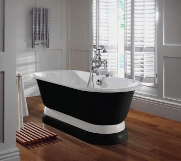 Casa Padrino Luxus Jugendstil Badewanne Schwarz / Weiß 170 x 78 x H. 58, 5 cm - Freistehende Badewanne - Badezimmermöbel