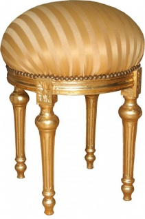 Casa Padrino Barock Sitzhocker - Rundhocker Gold Creme Streifen / Gold - Barock Hocker Möbel