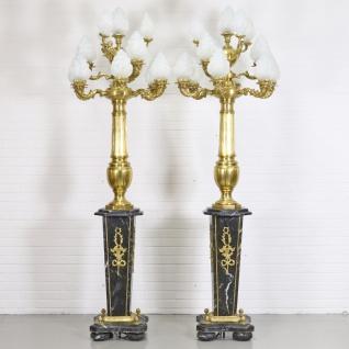 Casa Padrino Barock Stand Kronleuchter mit Marmor Säulen Set Mod2 Schwarz / Gold - Edel & Prunkvoll