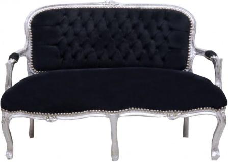 Casa Padrino Barock Kinder Sitzbank Schwarz / Silber 90 x 38 x H. 67 cm - Antik Stil Kindermöbel