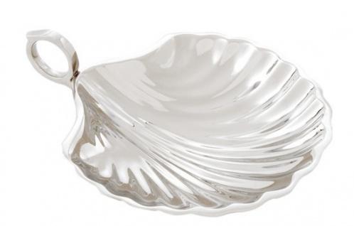 Casa Padrino Designer Schale Muschel Chrom Silber vernickelt 15.5 x 12.5 cm Massiv Schwer - Luxus Dekoration