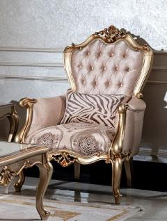 Casa Padrino Luxus Barock Sessel Rosa / Schwarz / Gold - Eleganter Wohnzimmer Sessel mit Muster und dekorativem Kissen - Barock Wohnzimmer Möbel