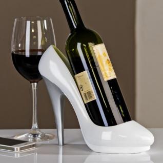 Designer Weinständer weißer Pumps mit silbernem Absatz - Weinregal - Weinhalter - Flaschenhalter