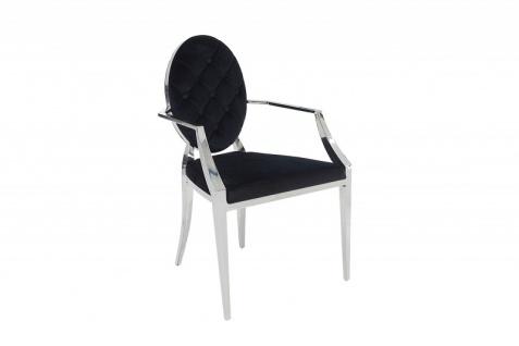 Casa Padrino Esszimmer Stuhl Schwarz / Silber mit Armlehnen - Designer Stuhl