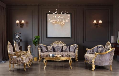 Casa Padrino Luxus Barock Wohnzimmer Set Blau / Gold / Silber - 2 Sofas & 2 Sessel & 1 Couchtisch - Wohnzimmer Möbel - Edel & Prunkvoll