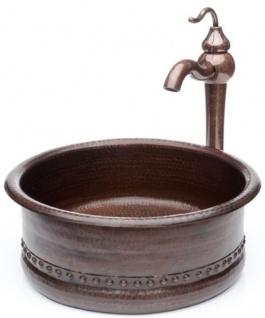 Casa Padrino Jugendstil Waschtisch Set Ø 38 x H. 37, 2 cm - Retro Einhebel Wasserhahn mit antiker Marmoroberfläche und handgefertigtem runden Kupfer Waschbecken - Rustikales Bad Zubehör