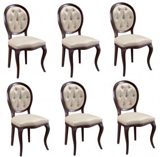 Casa Padrino Luxus Jugendstil Chesterfield Esszimmer Set Dunkelbraun / Cremefarben 51 x 44 x H. 99 cm - 6 Esszimmerstühle - Esszimmermöbel