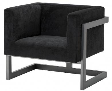 Casa Padrino Luxus Club Samt Sessel Schwarz / Bronze 86 x 70 x H. 74 cm - Luxus Qualität