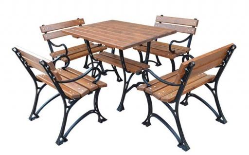 Casa Padrino Jugendstil Gartenmöbel Set Tisch & 4 Stühle mit Armlehnen Braun / Schwarz 100 cm - Gartentisch und Gartenstühle