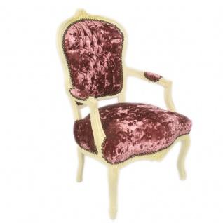 Casa Padrino Barock Salon Stuhl Bordeaux Velour Stoff / Creme - Antik Design Möbel - Vorschau 2