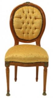 Casa Padrino Barock Luxus Esszimmer Medaillon Stuhl Gold Muster / Helles Mahagoni - Antik Stil - Möbel