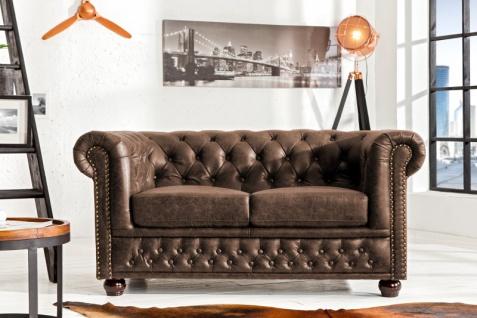 Casa Padrino Luxus Spaltleder 2er Sofa Vintage Braun 150 x 85 x H.70cm- Chesterfield Möbel - Vorschau 2