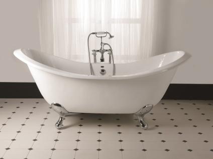 Casa Padrino Luxus Jugendstil Badewanne Weiß / Silber 180 x 77 x H. 79 cm - Gebogene freistehende Acryl Badewanne mit verchromten kugelförmigen Stahl Füßen - Jugendstil Badezimmermöbel