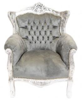 Casa Padrino Barock Kinder Sessel Grau / Silber - Kinder Thron - Kindersessel - Möbel