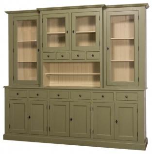 Casa Padrino Landhausstil Küchenschrank Grün / Beige 244 x 45 x H. 225 cm - 2 Teiliger Küchenschrank mit 10 Türen und 10 Schubladen