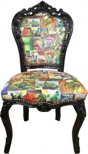 Casa Padrino Barock Esszimmer Stuhl Comic Design Mehrfarbig / Schwarz 53 x 57 x H. 108 cm - Handgefertigter Küchenstuhl im Barockstil