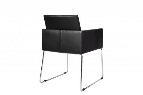 Casa Padrino Designer Stuhl Schwarz mit Armlehnen 55cm x 80cm x 60cm - Büromöbel - Vorschau 3