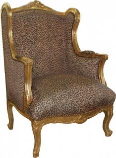 Casa Padrino Barock Lounge Thron Ohrensessel Leopard / Gold Mod2 - Antik Stil Wohnzimmer Tron Stuhl