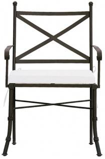 Casa Padrino Luxus Jugendstil Gartenstuhl Set mit Armlehnen und Sitzkissen Braun / Weiß 61 x 51 x H. 97 cm - Handgeschmiedete Esszimmer Stühle - Esszimmer Garten Terrassen Möbel - Vorschau 2