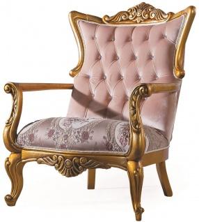 Casa Padrino Luxus Barock Wohnzimmer Sessel mit Glitzersteinen Rosa / Gold 90 x 85 x H. 110 cm - Wohnzimmermöbel im Barockstil