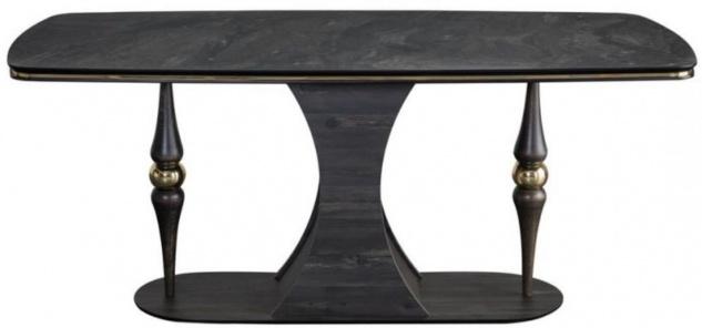 Casa Padrino Luxus Art Deco Esstisch Grau / Schwarz / Messingfarben 183 x 92 x H. 77 cm - Edler Esszimmertisch mit Glasplatte in Marmoroptik - Art Deco Esszimmer Möbel