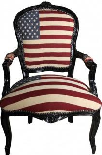 Casa Padrino Barock Salon Stuhl USA Design / Schwarz - USA Style