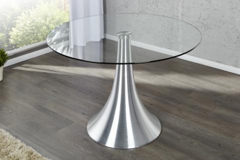 Moderner Design Esstisch Glas 110 cm Rund mit Aluminium Fuss von Casa Padrino - Esszimmer Tisch - Bistro Tisch